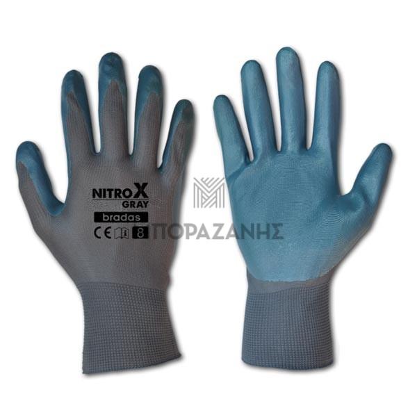 Γάντια νιτριλίου γκρί Bradas NitroX