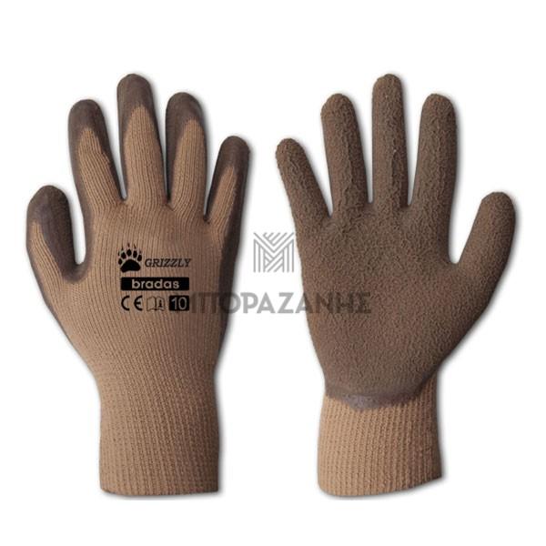 Γάντια LATEX εργασίας Bradas GRIZZLY RWG10