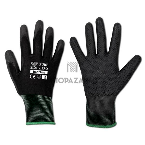 Γάντια εργασίας PU Bradas Pure Black PRO RWPBCP10
